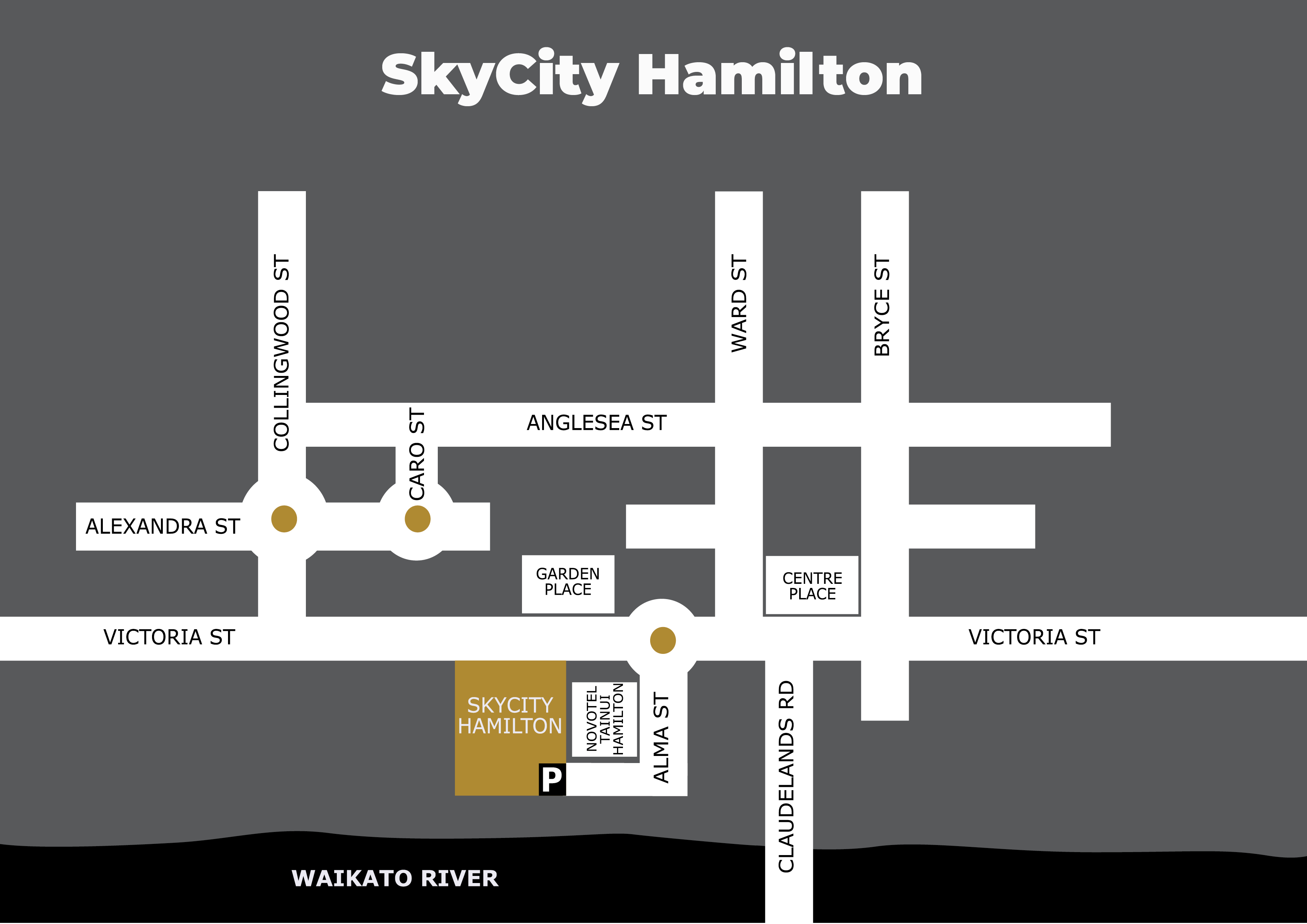 SkyCity Hamilton Parking Directional Map